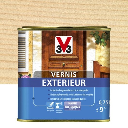 Vernis ext rieur v33 incolore aspect satin 2 5 l for Vernis bois exterieur