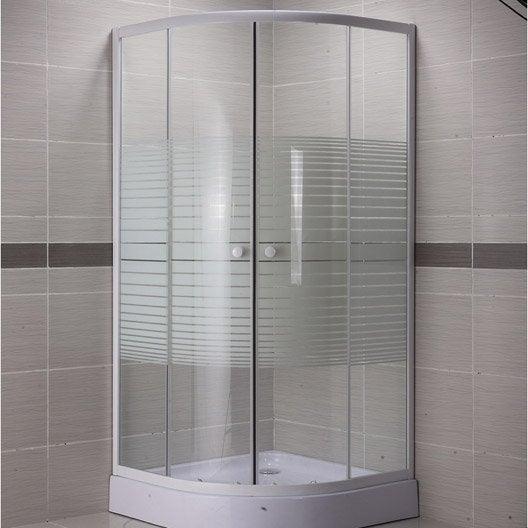 porte de douche coulissante angle 1 4 de cercle x cm blanc primo leroy merlin. Black Bedroom Furniture Sets. Home Design Ideas
