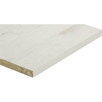 Tablette mélaminé planche usée blanche SPACEO, L.120 x l.30 cm x Ep.18 mm
