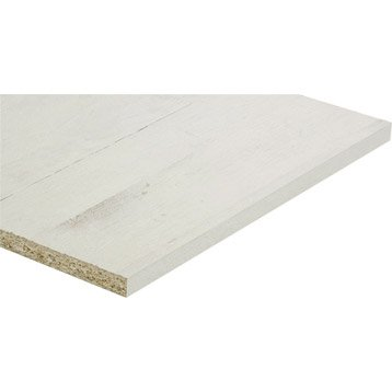 Tablette mélaminé planche usée blanche SPACEO, L.250 x l.40 cm x Ep.18 mm