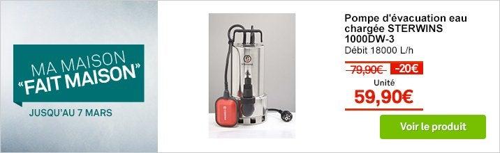Pompe d'évacuation eau chargée STERWINS 1000dw-3 18000 l/h