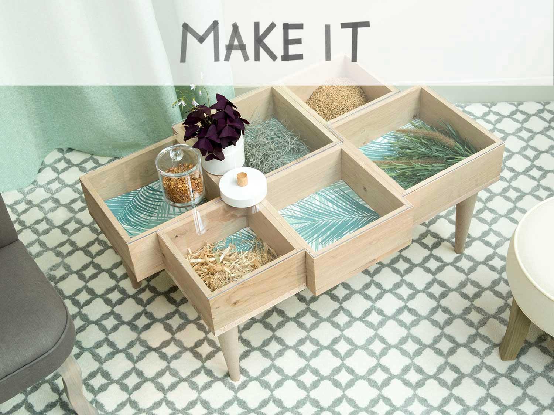 Réaliser une table basse avec des cubes de bois  Leroy Merlin -> Réaliser Une Table Basse En Bois