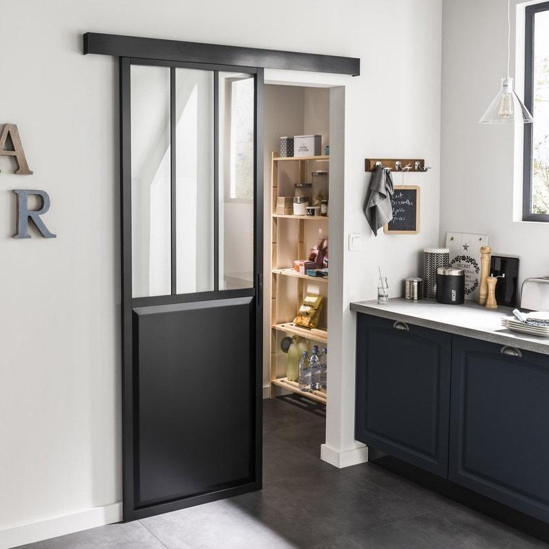 Porte Coulissante Aluminium Noir Atelier Verre Clair Artens H 204 X