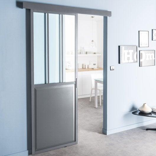 porte coulissante aluminium gris atelier verre clair. Black Bedroom Furniture Sets. Home Design Ideas
