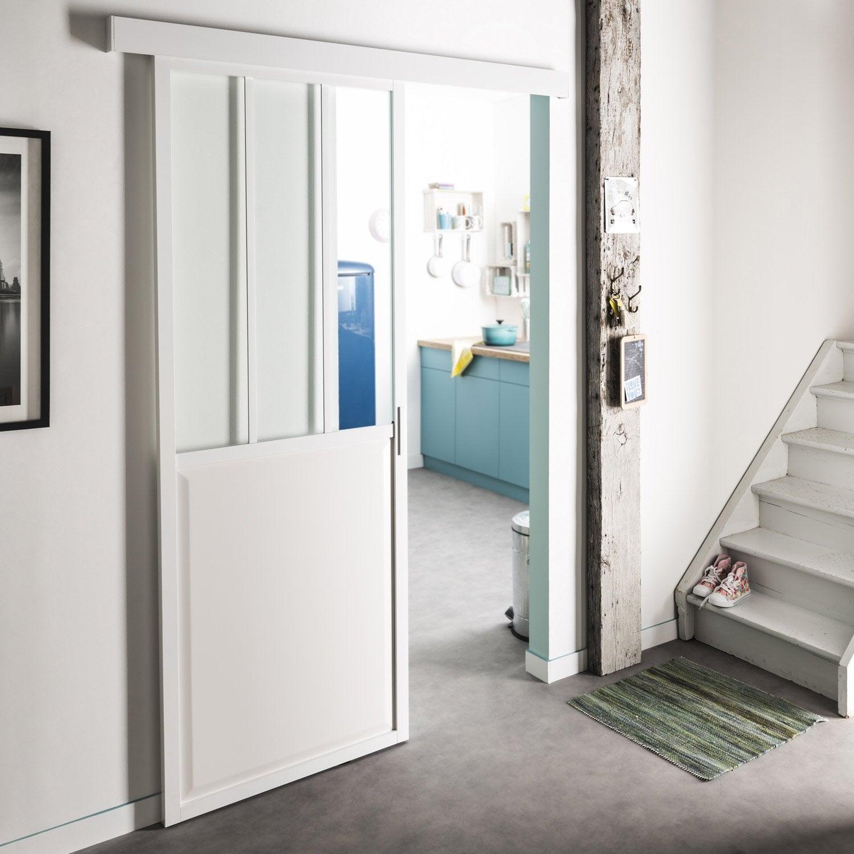 Porte coulissante aluminium blanc atelier verre clair artens x cm leroy merlin - Porte coulissante aluminium ...