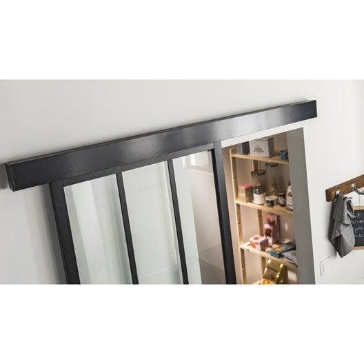 Porte coulissante aluminium noir atelier verre clair artens x cm leroy merlin - Porte coulissante aluminium ...