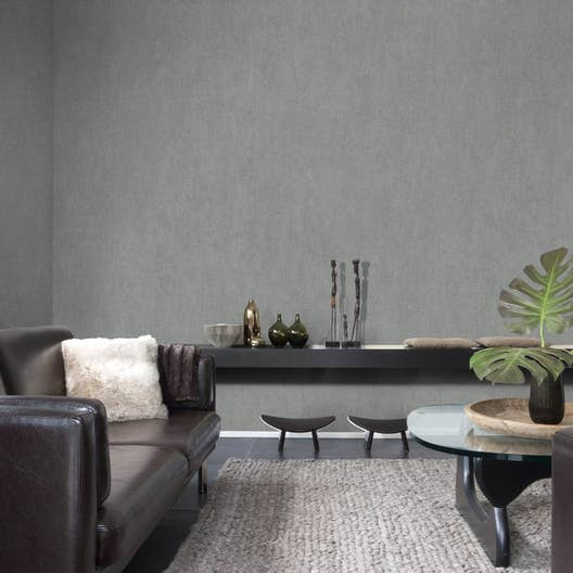 Papier peint intissé Messina gris | Leroy Merlin
