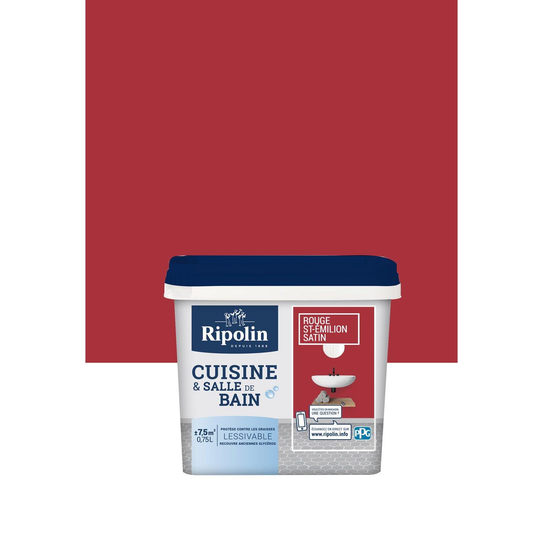 Peinture Mur Cuisine Et Bain RIPOLIN, Rouge Saint Emilion, 0.75 L, ...
