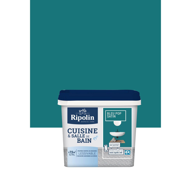 Peinture Mur Cuisine Et Bain RIPOLIN, Bleu Pop, 0.75 L, ...