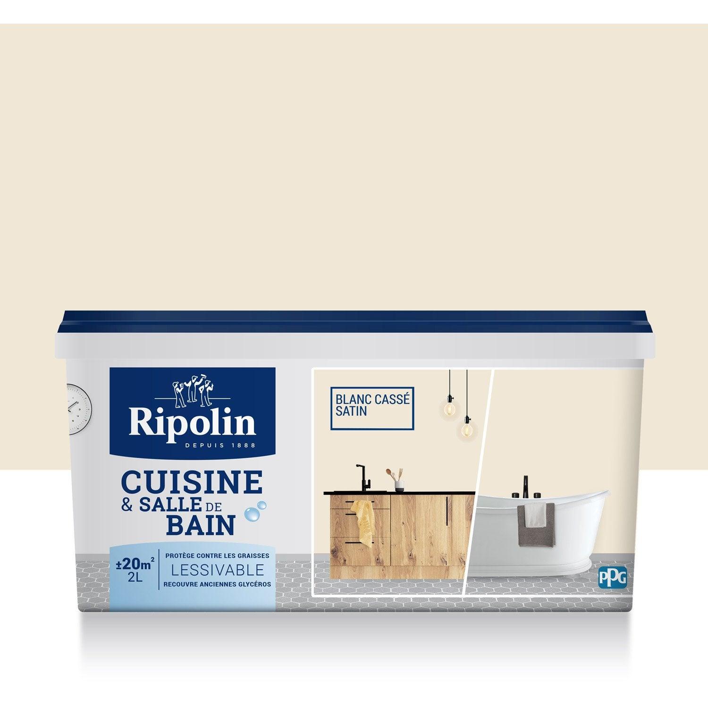 peinture cuisine et bain ripolin, blanc cassé, 2 l | leroy merlin