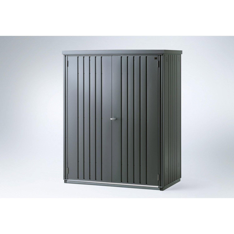 Armoire de jardin métal gris foncé, l.155 x H.182 x P.83 cm ...