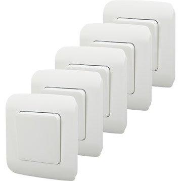 Lot de 5 interrupteurs va-et-vient Cosy, blanc-blanc n°0, LEXMAN