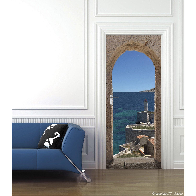 Sticker porte ondoor chemin de ronde 83 cm x 204 cm leroy merlin - Poster de porte castorama ...