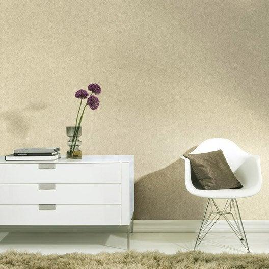 Papier peint expans sur intiss palme uni beige leroy for Tapisserie cuisine 4 murs