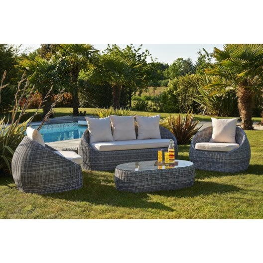 Salon jardin isa r sine tress e gris 1 banquette 2 fauteuils 1 table basse leroy merlin for Goa salon de jardin en resine tressee gris