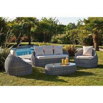 Salon bas de jardin canap fauteuil bas salon de d tente leroy merlin - Banquette jardin resine ...