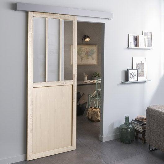 porte coulissante plaqu e pin atelier pin x cm leroy merlin. Black Bedroom Furniture Sets. Home Design Ideas