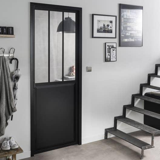 bloc porte noir atelier verre clair artens h204 x l73 cm poussant gauche