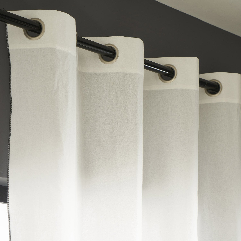 Rideau tamisant, Elis, blanc et noir, l.140 x H.260 cm INSPIRE