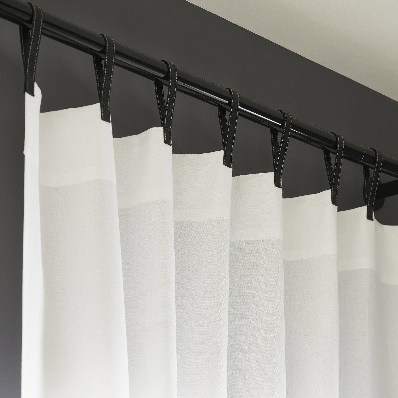 Rideau tamisant, Bao, blc lanière noir, l.140.0 x H.260.0 cm INSPIRE