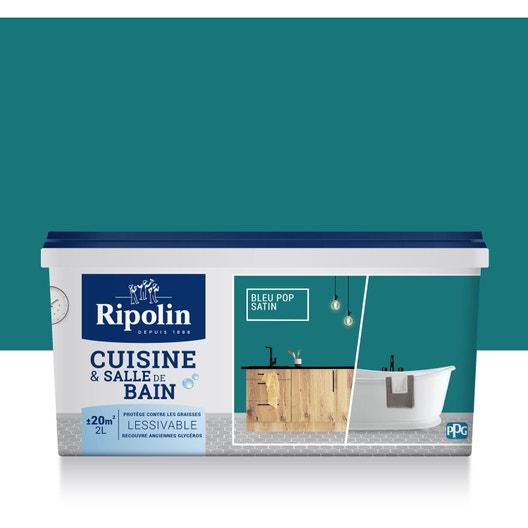 Peinture Cuisine et bain RIPOLIN, Bleu pop, 2 l | Leroy Merlin