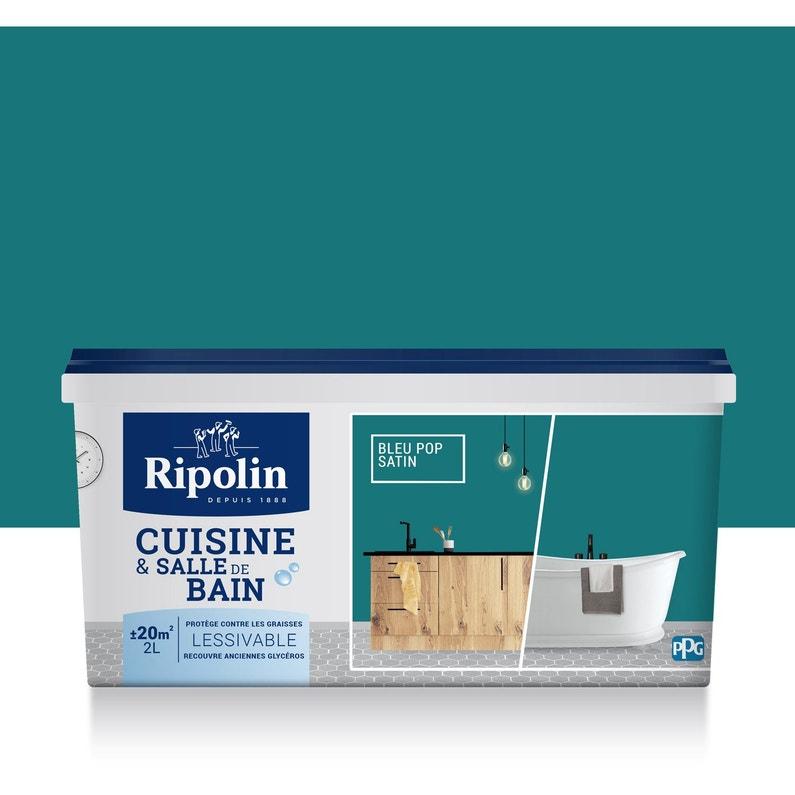Peinture mur, boiserie, radiateur Cuisine et bain RIPOLIN, bleu pop ...