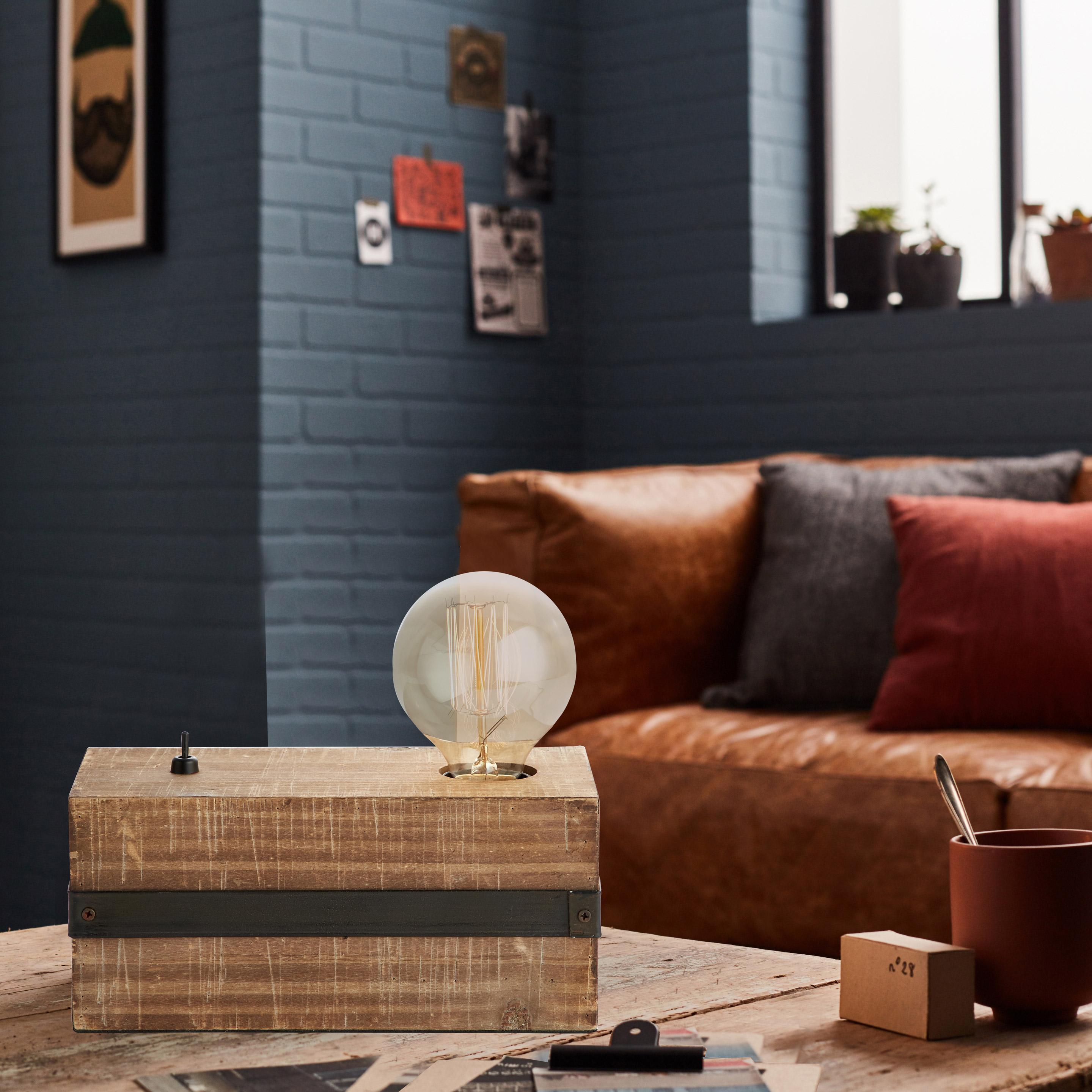 Lampe, industriel, métal noir, BRILLIANT WOODHILL Cube