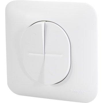 Double interrupteur va-et-vient Ovalis, SCHNEIDER ELECTRIC, blanc