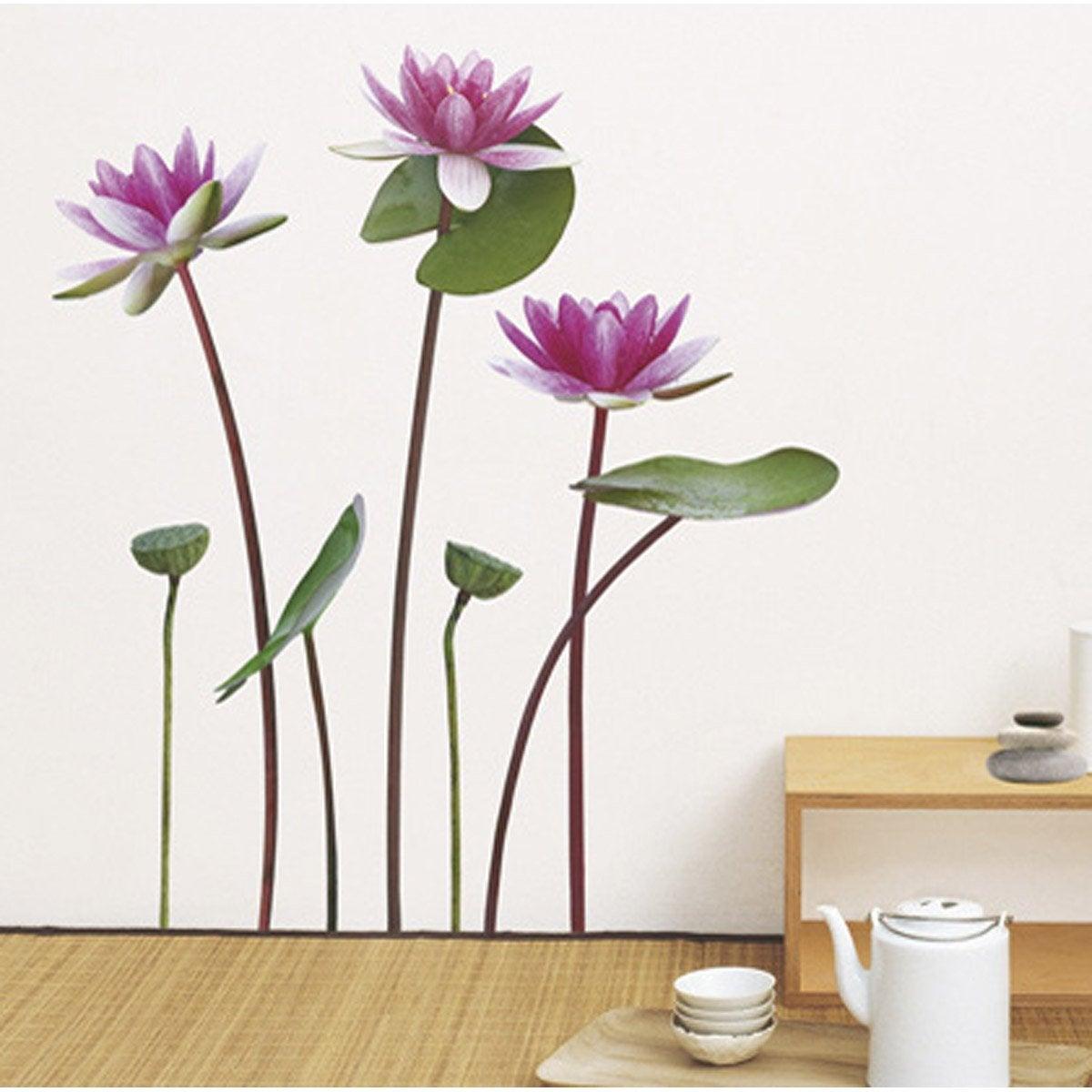 sticker lotus et nymphea 50 cm x 70 cm leroy merlin. Black Bedroom Furniture Sets. Home Design Ideas
