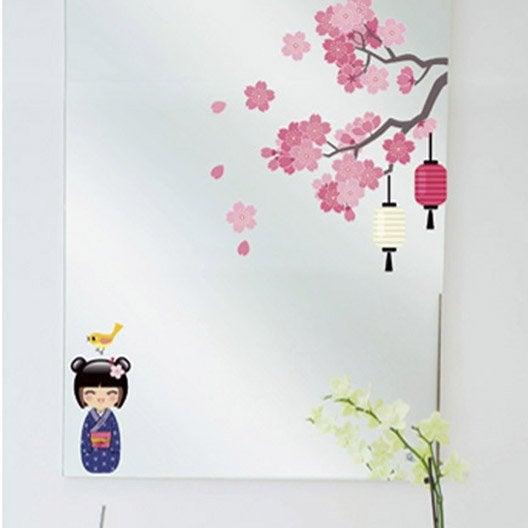 Sticker printemps de la kokeshi 24 cm x 69 cm leroy merlin - Stickers vitres leroy merlin ...