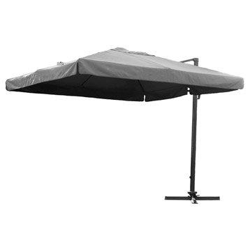 Parasol excentré Almeria gris carré, L.300 x l.300 cm