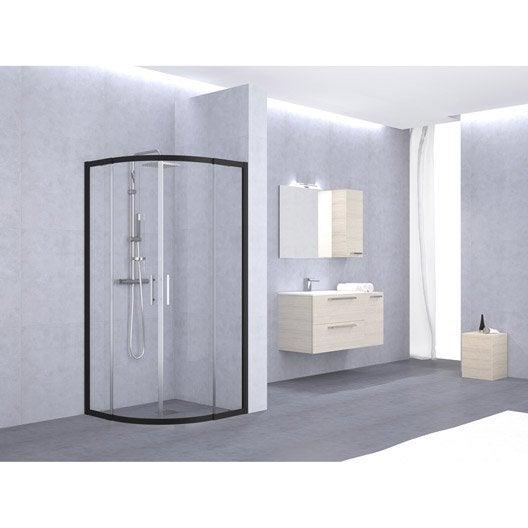 porte de douche coulissante angle 1 4 de cercle x cm noir elyt leroy merlin. Black Bedroom Furniture Sets. Home Design Ideas