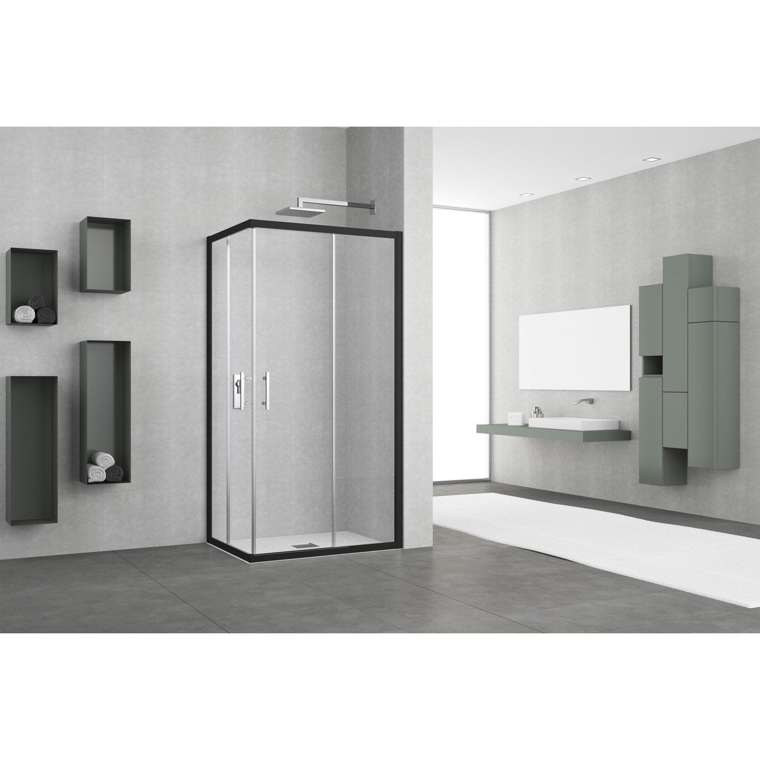 porte de douche coulissante angle rectangle x cm transparent elyt leroy merlin. Black Bedroom Furniture Sets. Home Design Ideas