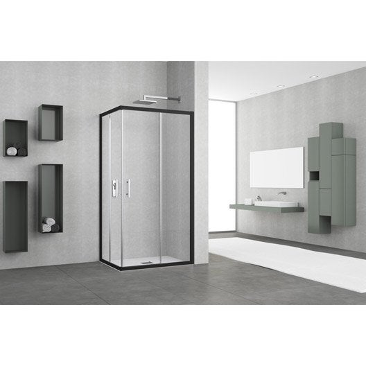 porte de douche coulissante angle rectangle x cm noir elyt leroy merlin. Black Bedroom Furniture Sets. Home Design Ideas