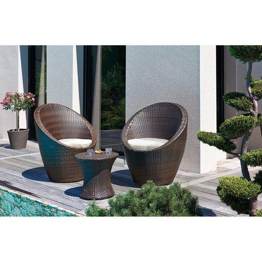 v p produits salon bas de jardin totem resine tressee chocolat  table fauteuils e