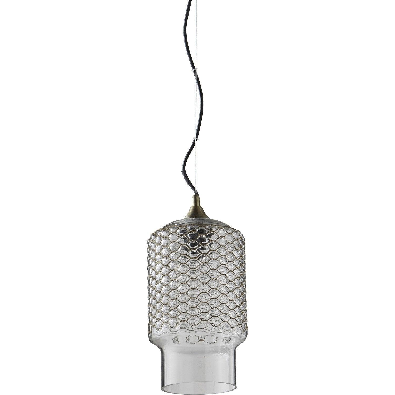 Suspension, design verre blanc LUSSIOL Bella 1 lumière(s) D.15 cm