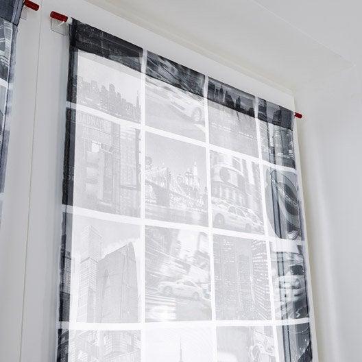 paire de vitrages tamisant petite hauteur city gris x cm leroy merlin. Black Bedroom Furniture Sets. Home Design Ideas