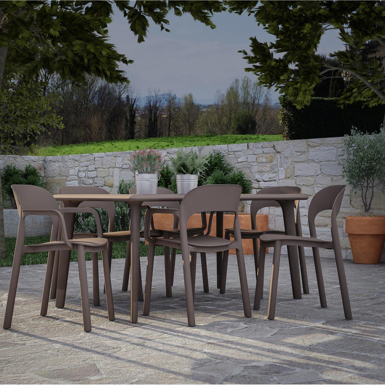 Salon de jardin Dessa résine (plastique) brun marron, 6 personnes ...