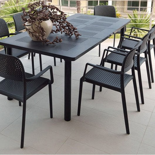 Salon de jardin libeccio gris anthracite 6 personnes for Salon jardin resine gris anthracite