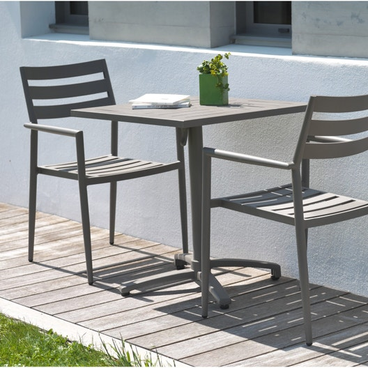 salon de jardin gabin aluminium taupe 2 personnes leroy merlin. Black Bedroom Furniture Sets. Home Design Ideas