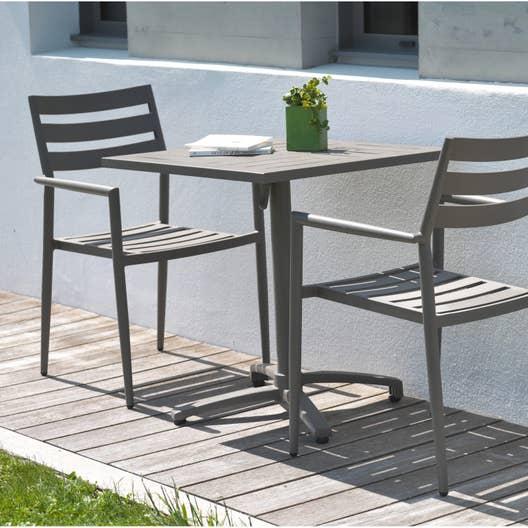 salon de jardin gabin aluminium taupe 2 personnes leroy. Black Bedroom Furniture Sets. Home Design Ideas