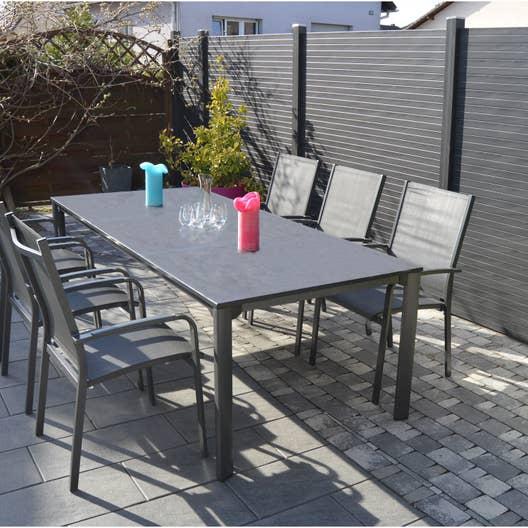 salon de jardin puroplan aluminium gris anthracite 8 personnes leroy merlin. Black Bedroom Furniture Sets. Home Design Ideas