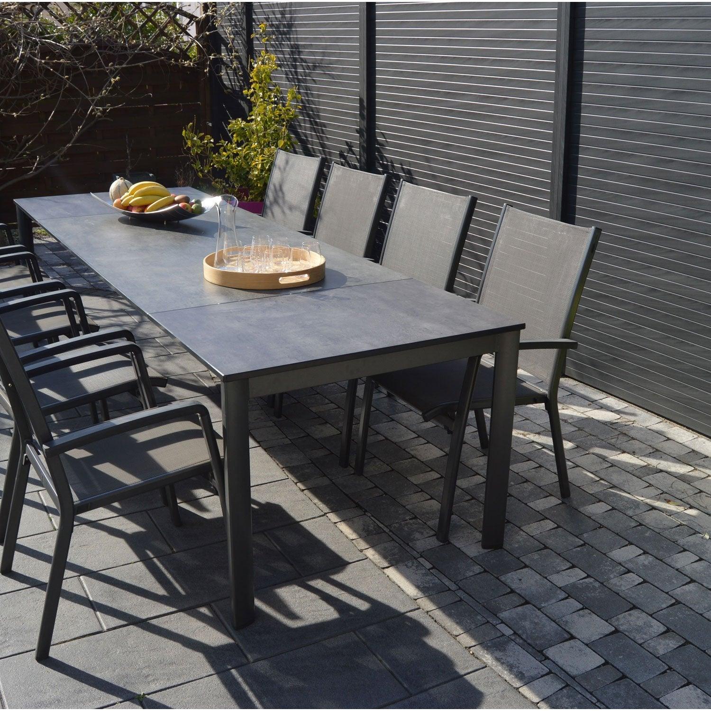 Salon de jardin puroplan aluminium gris anthracite 10 personnes leroy merlin - Table de jardin aluminium 12 personnes ...