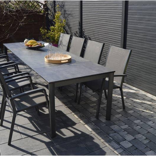 Salon de jardin puroplan aluminium gris anthracite 10 personnes leroy merlin - Chaise de jardin gris anthracite ...
