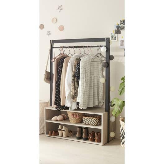 penderie et tag re beige bois et m tal x x cm leroy merlin. Black Bedroom Furniture Sets. Home Design Ideas