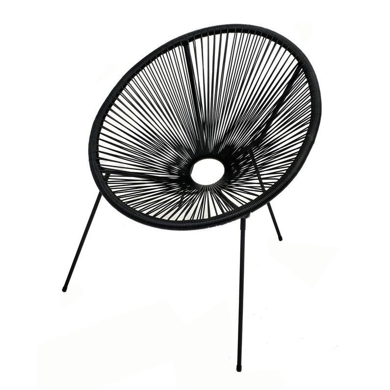 fauteuil en acier acapulco noir | leroy merlin