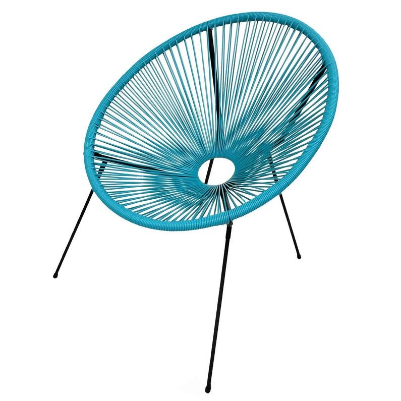 fauteuil en acier acapulco bleu | leroy merlin