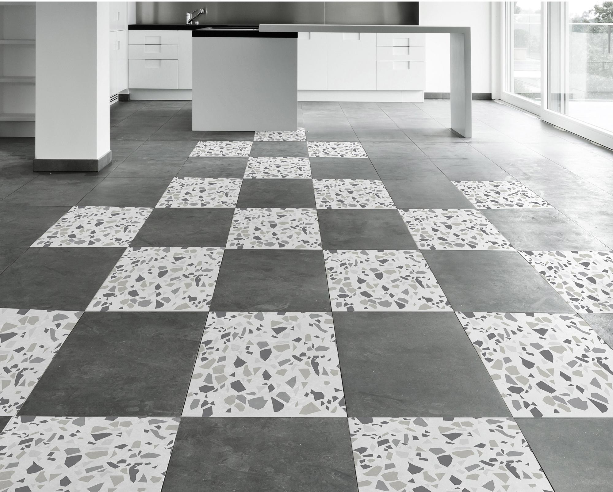 stickers adh sifs carrelage sol terrazzo gris 20 cm x 20. Black Bedroom Furniture Sets. Home Design Ideas