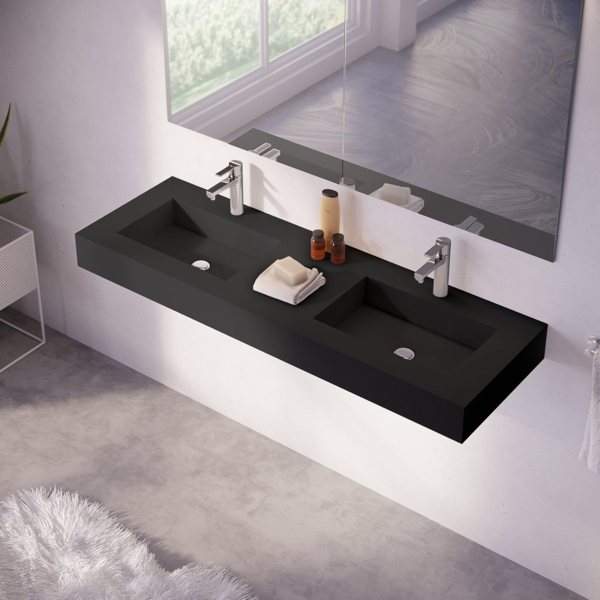 Plan Vasque Sur Mesure plan vasque double série microplus pierre noir l.141