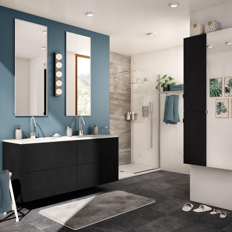 Meuble de salle de bains effet chêne noir, avec 16 tiroirs pour